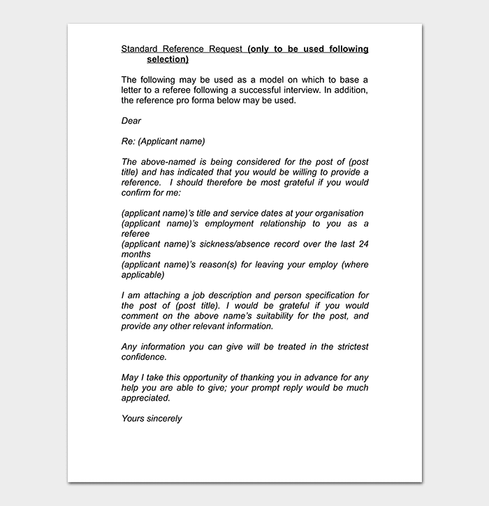 Employment Reference Request Letter