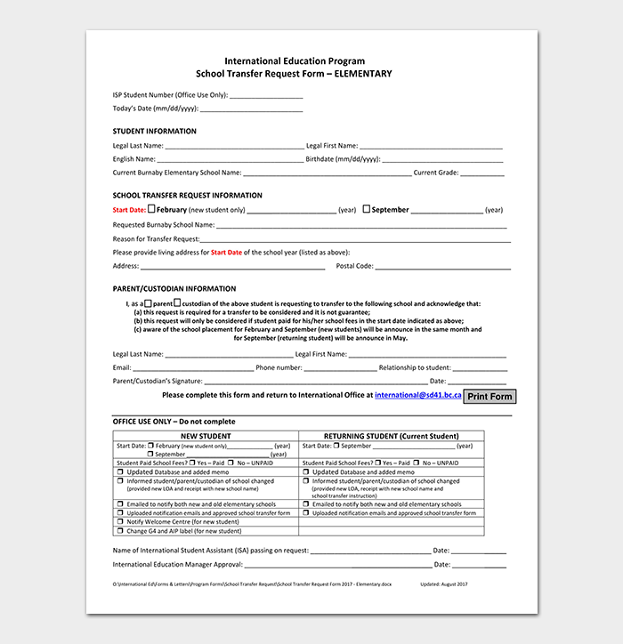 Fillable Elementary School Transfer Request Form