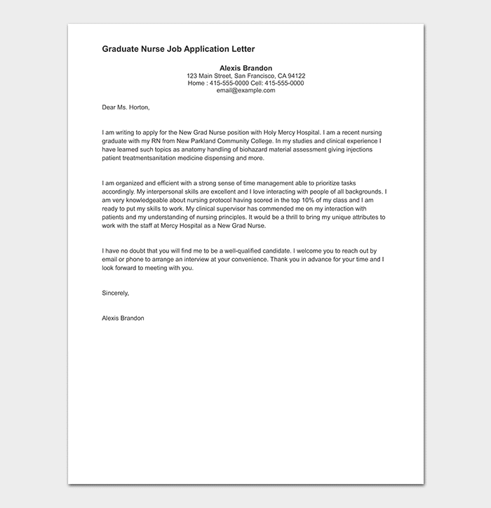 Graduate Nurse Job Application Letter