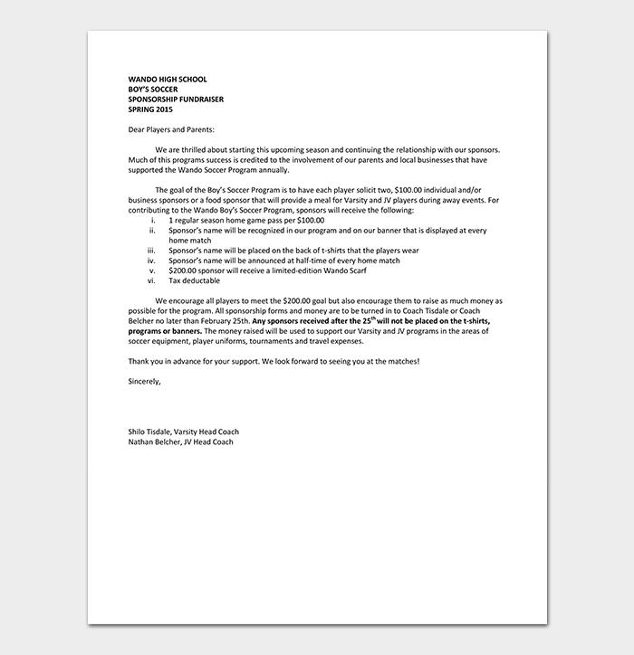 High School Sponsorship Letter