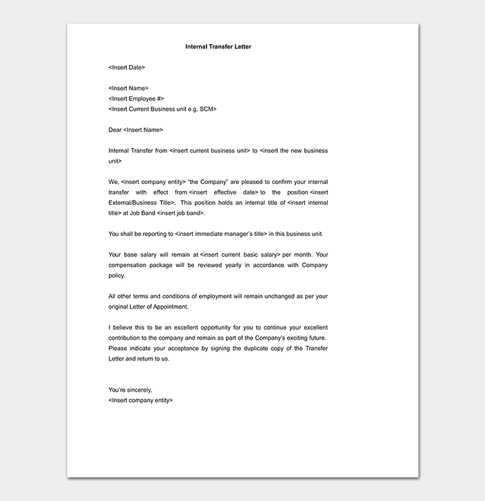 Internal Transfer Letter