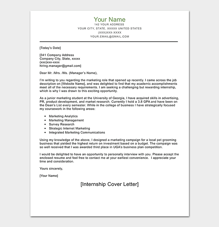 Internship Request Letter WORD