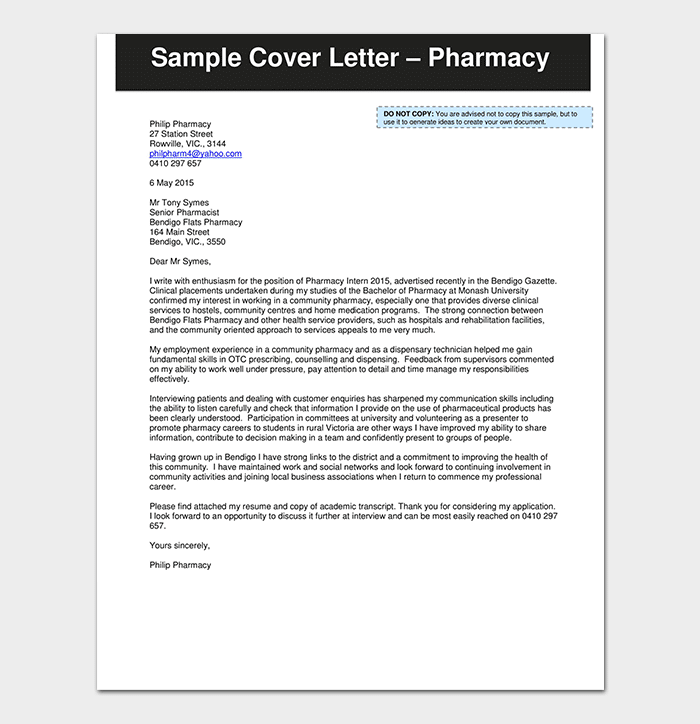 Job Application Letter For Pharma Internship