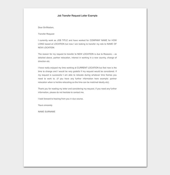 Job Transfer Request Letter How To
