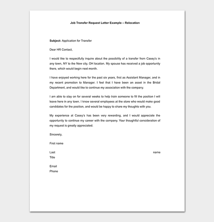Job Transfer Request Letter Relocation