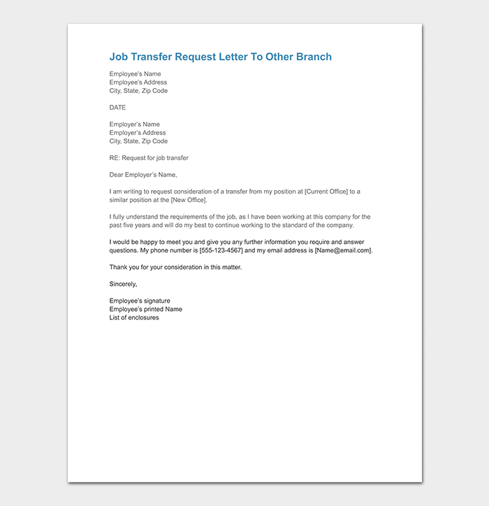 Job Transfer Request Letter To Other Branch DOC