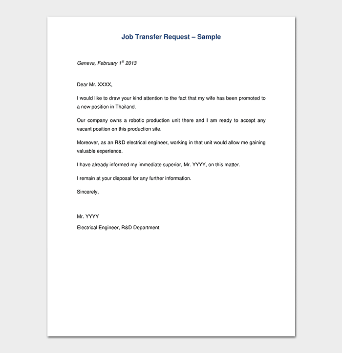 Job Transfer Request Letter