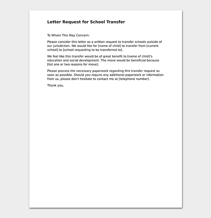 Elementary School Transfer Request Letter Format Samples