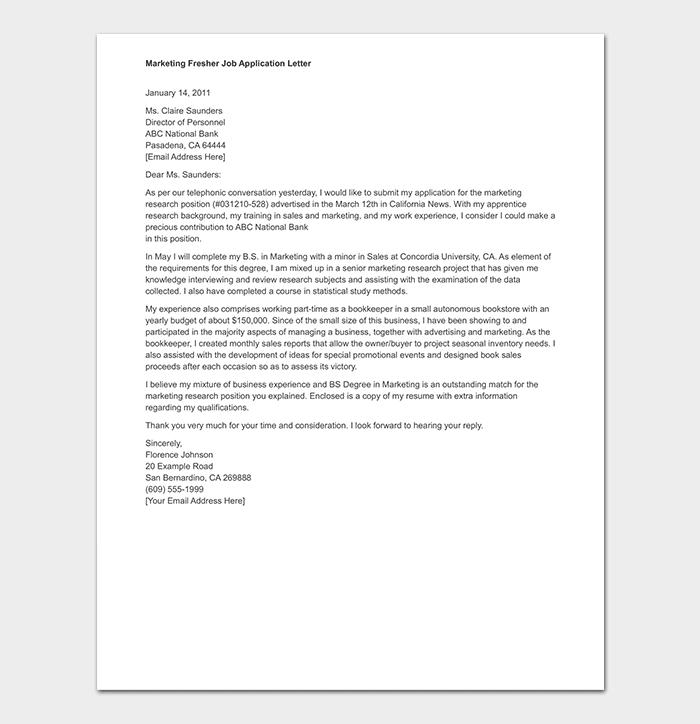 Marketing Fresher Job Application Letter