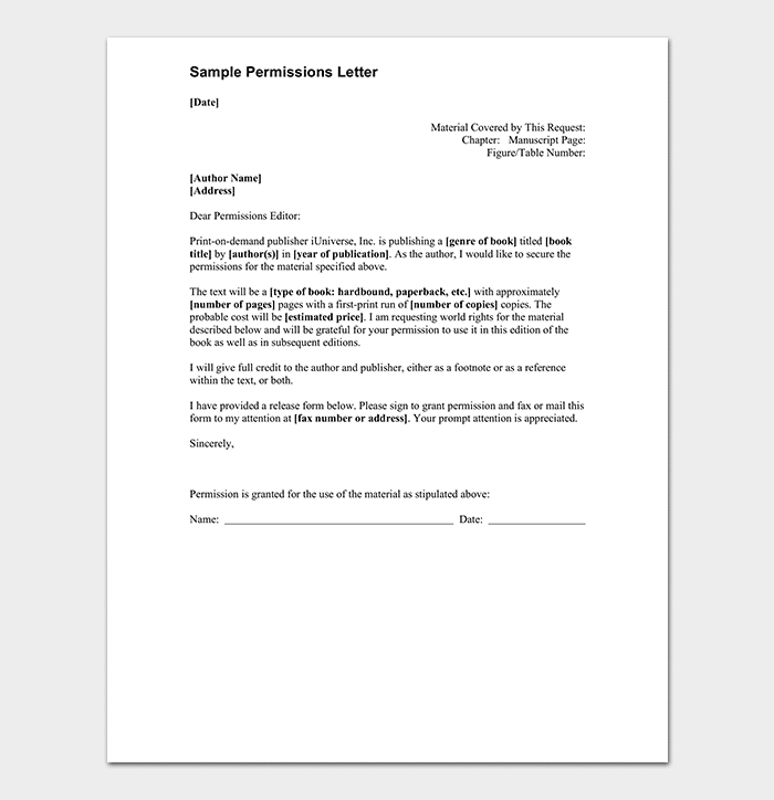 Letter Granting Permission To Use Land from images.docformats.com
