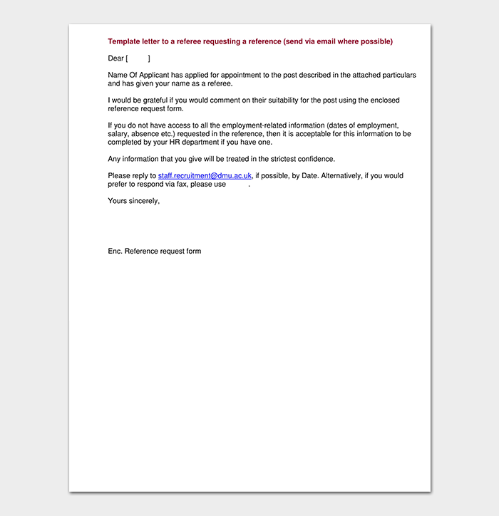 Reference Request Letter to Referee