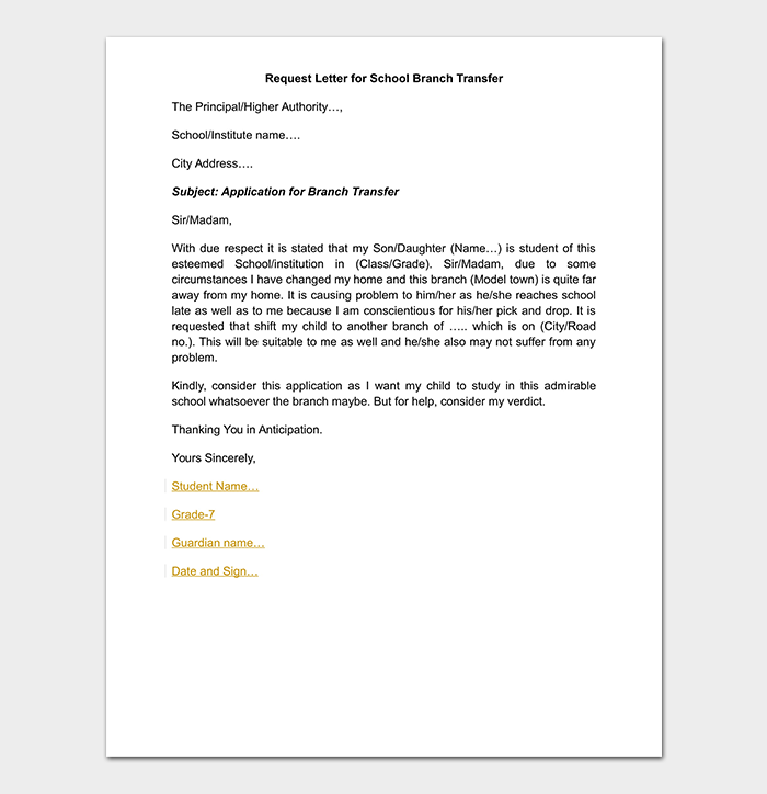 School Transfer Letter How To Write Format Amp Sample Letters