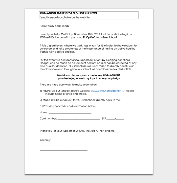 Request for Sponsorship Email Letter