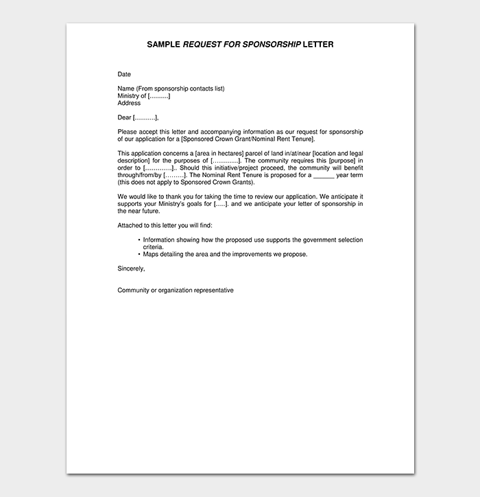 Request for Sponsorship Letter