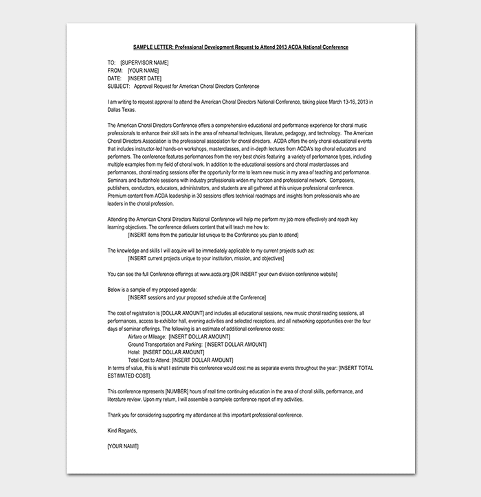 Request to Attend Approval Letter Sample