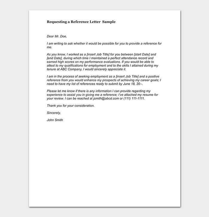 Reference Request Letter Format With Samples Tips