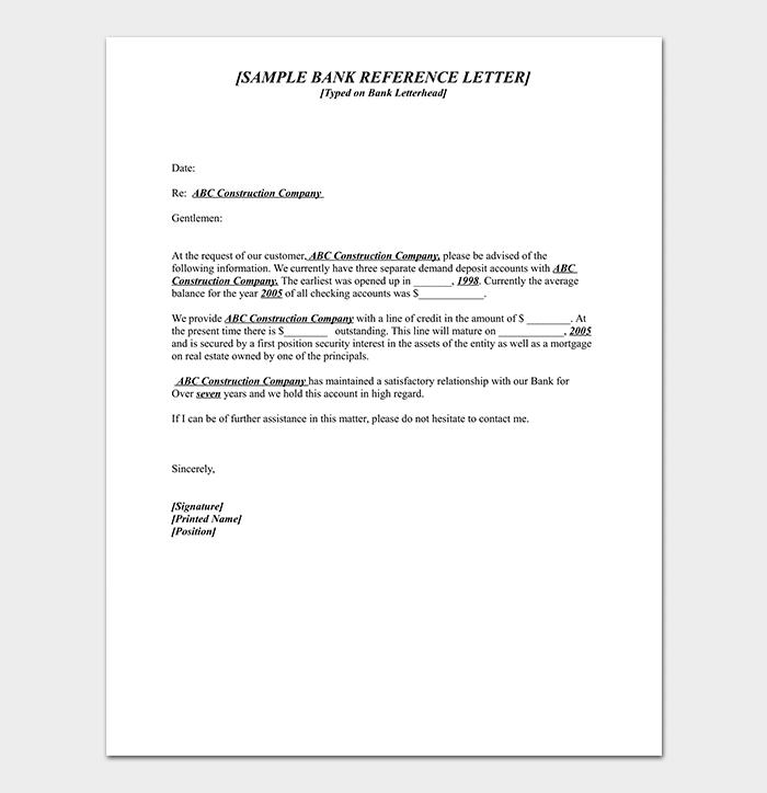 Sample Bank Reference Letter
