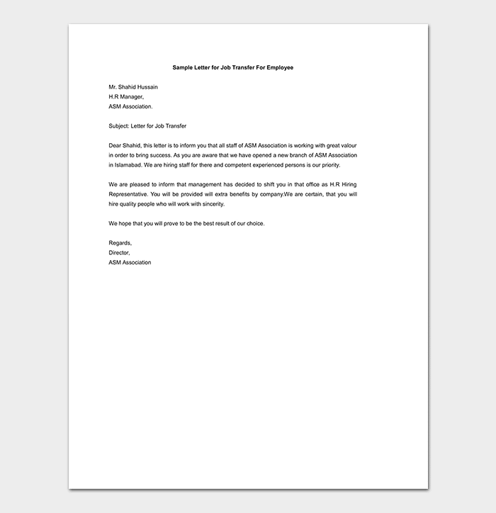 Sample Letter for Job Transfer for Employee