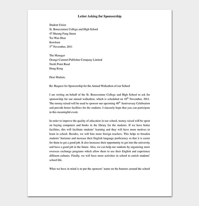 Sample Letter for Sponsorship
