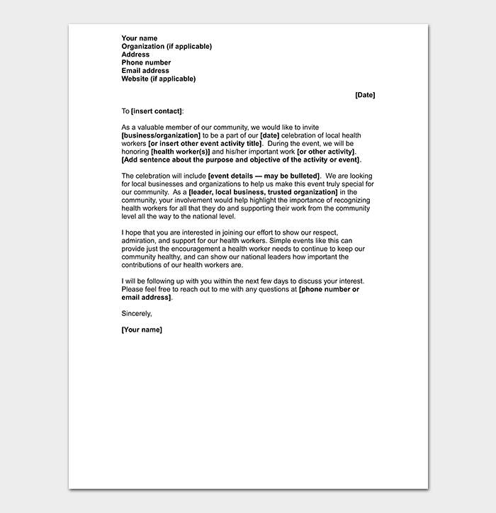 Sample Letter to Sponsors