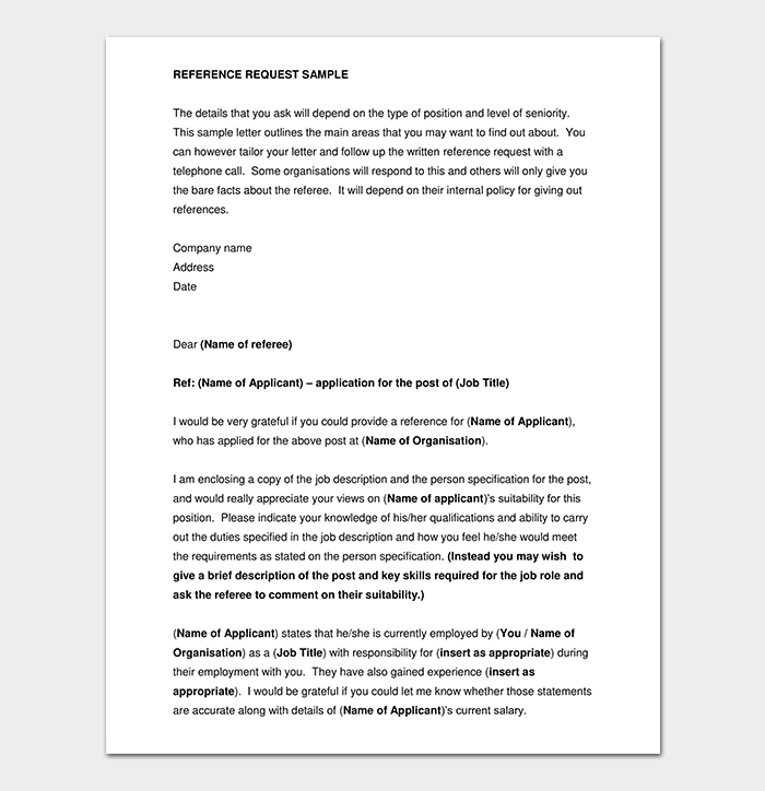 Sample Reference Request Letter PDF