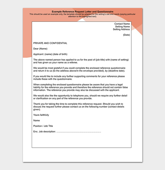 Sample Reference Request Letter