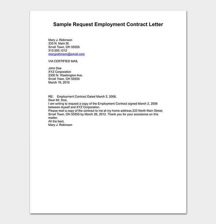 Sample Request Employment Contract Letter