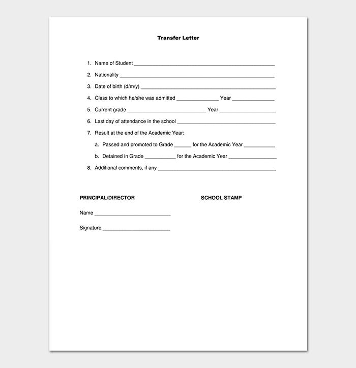 Sample School Transfer Letter