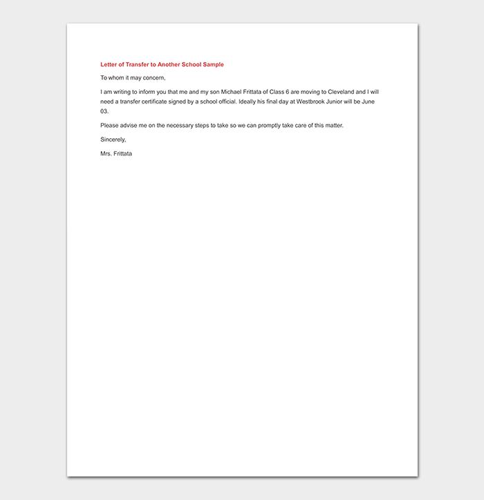 School Transfer Letter Example