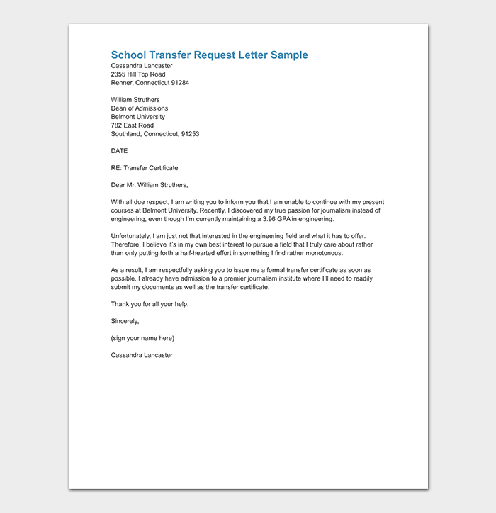 Sample Parent Recommendation Letter For College.School Transfer Letter How To Write Format Sample Letters