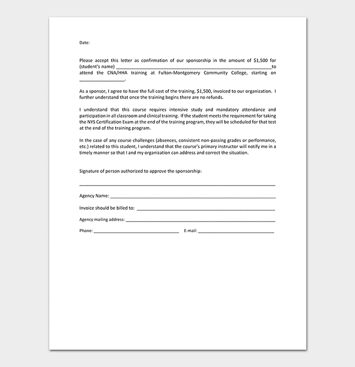 Sponsorship Confirmation Letter Template
