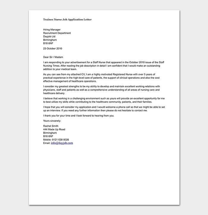 Trainee Nurse Job Application Letter