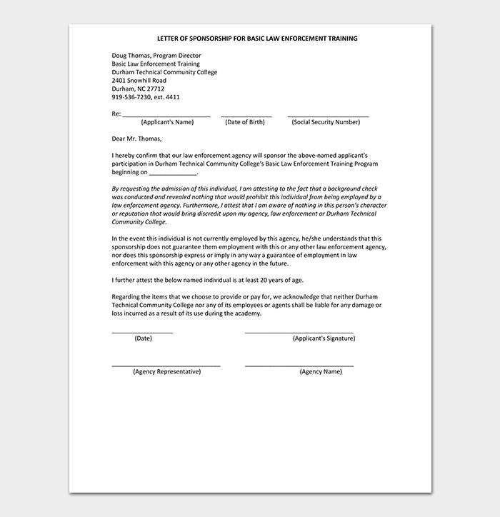 Training Sponsorship Letter