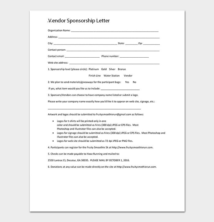Vendor Sponsorship Letter