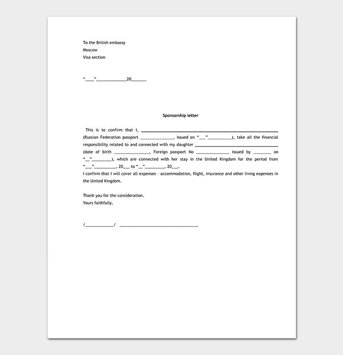 Visa Sponsorship Letter
