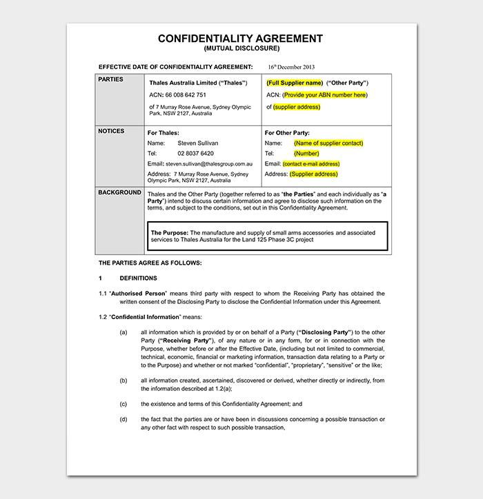 Bilateral Non Disclosure Agreement