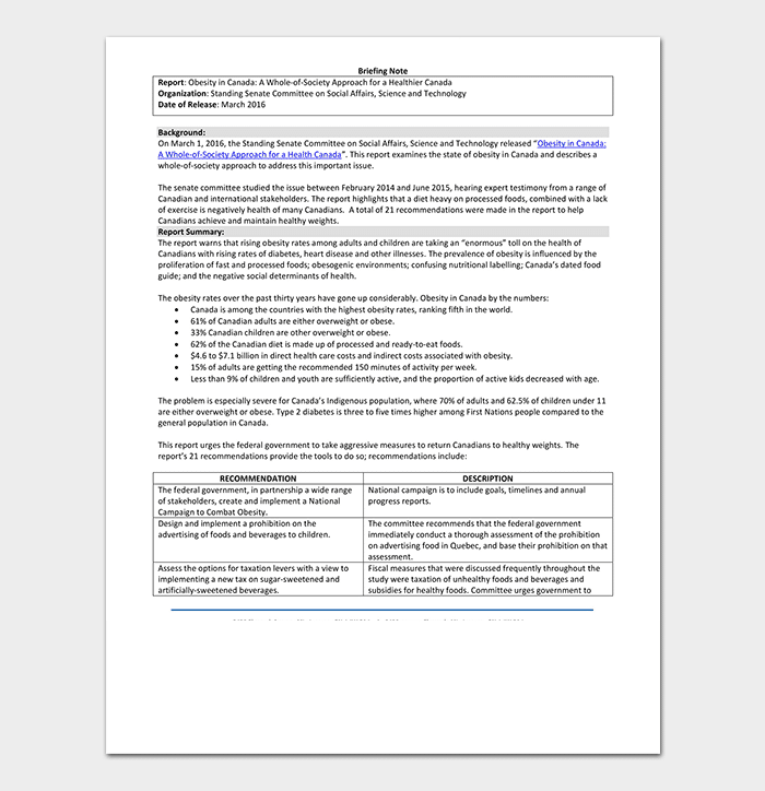 Briefing Note Example
