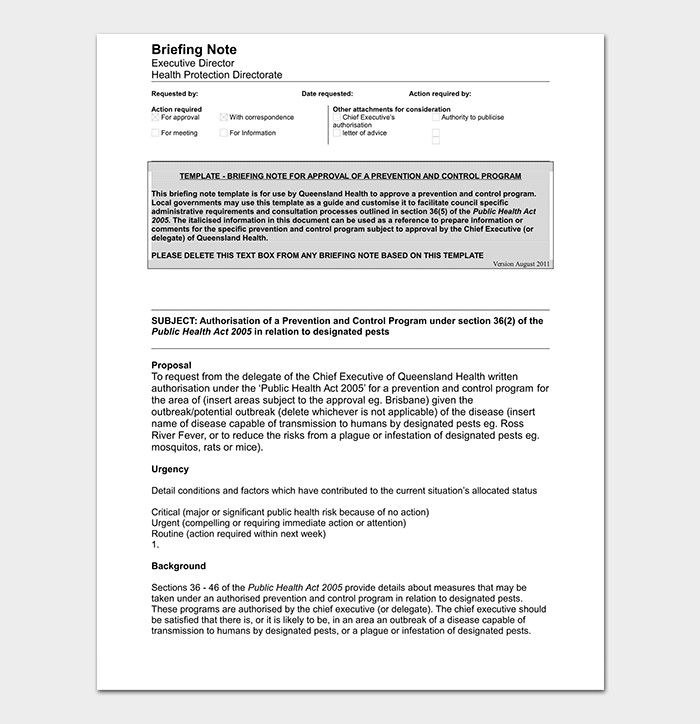 Briefing Note Template in WORD