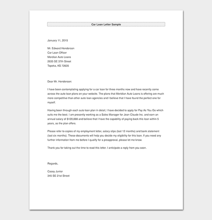 Car Loan Letter Sample