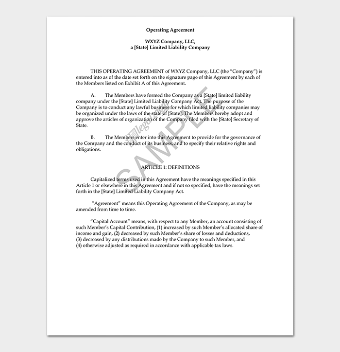 Company Operating Agreement PDF