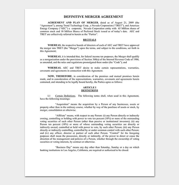 Definitive Merger Agreement