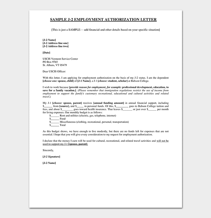 Work Permission Letter: Format & Sample Work Authorization
