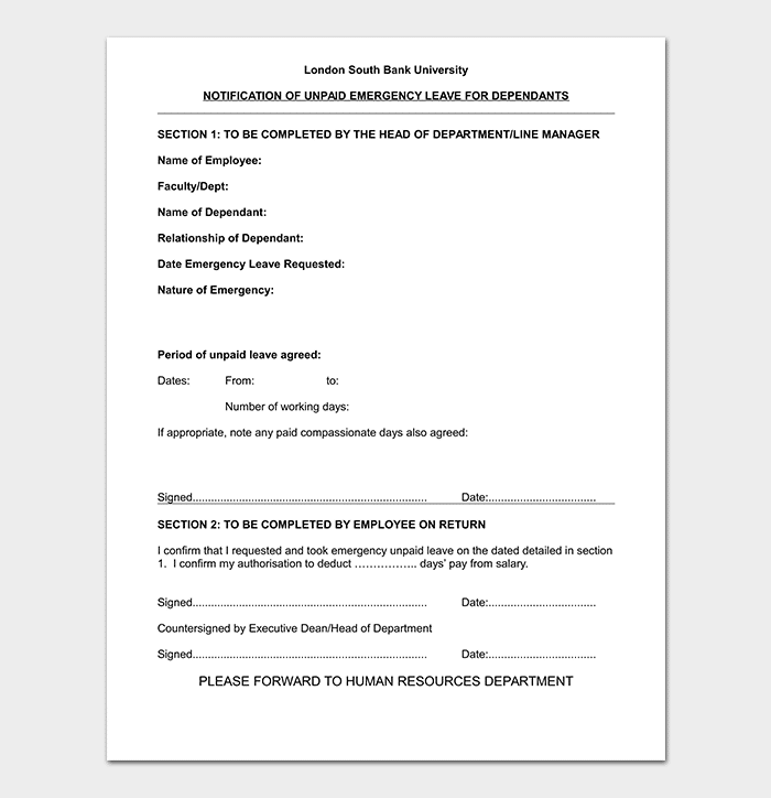 Emergency Leave Letter Template