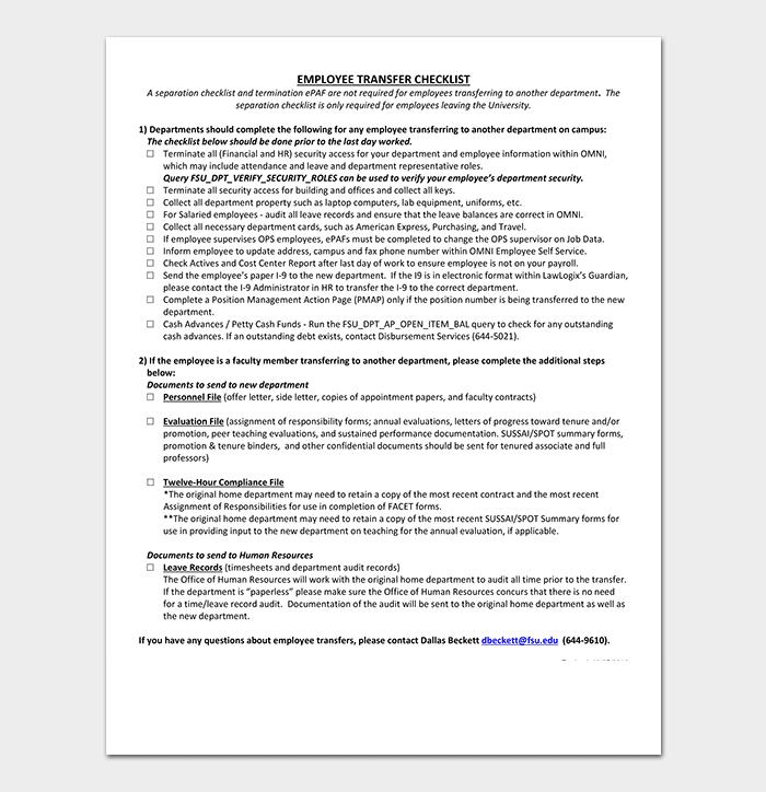 Employee Department Transfer Letter