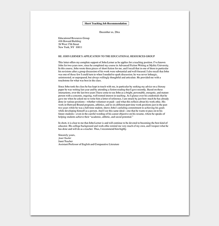 Faculty Promotion Recommendation Letter