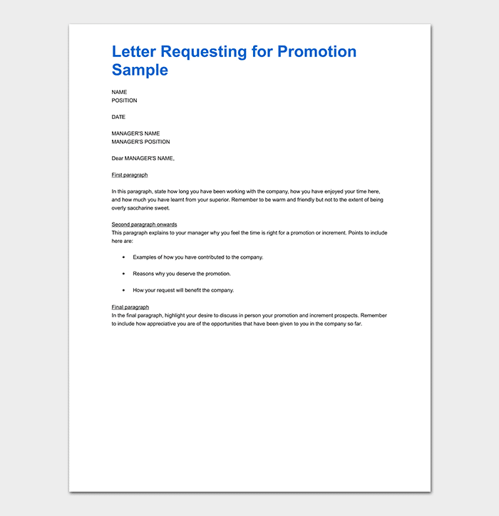 Promotion Request Letter: 12+ Sample Letters & Format