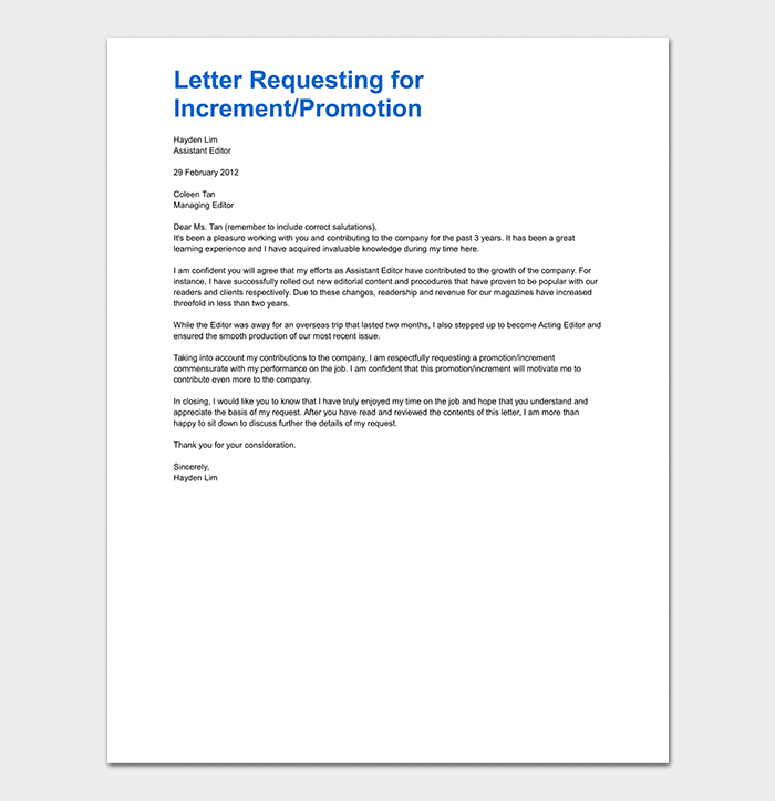 Letter Requesting for Promotion WORD