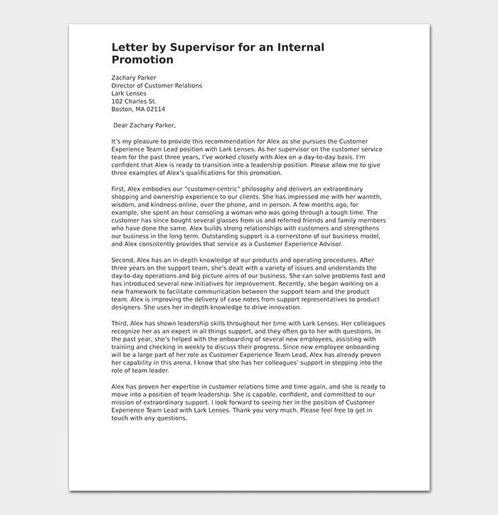 Letter by Supervisor for an Internal Promotion