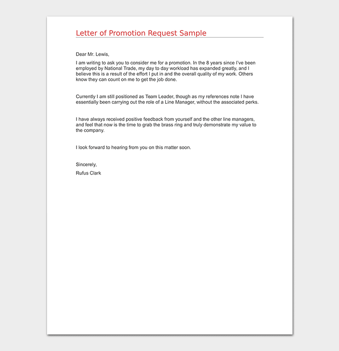 Letter of Promotion Request Sample