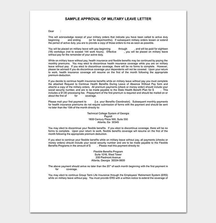 Military Leave Letter Template